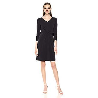Lark & Ro Women's Crepe Knit Three Quarter Sleeve Center Twist Dress, Black, 12