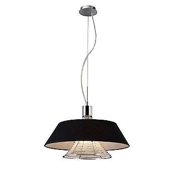 Inspireret Diyas - Davina - Loft vedhæng med sort skygge 3 lys poleret krom, krystal