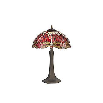 2 Lampada da tavolo ottagonale leggera E27 con 40cm Tiffany Shade, Viola, Rosa, Cristallo, Ottone Antico Invecchiato