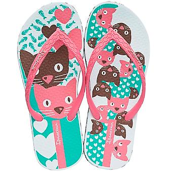 Ipanema Unique III Cats Girls Flip Flops / Sandals -  White and Pink