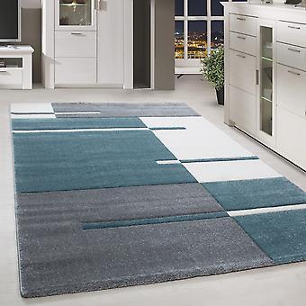 Short flor design tapis contour cut pattern Modern living room rug blue white