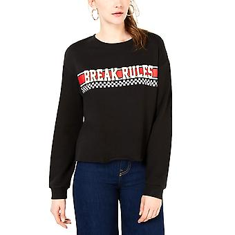 Rebellious One   Juniors' Break Rules Cropped Graphic Sweatshirt