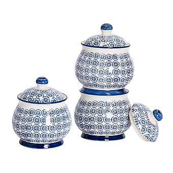 Nicola Spring 3 Piece Hand-Printed Sugar Bowl with Lid Set - Porcelain Kitchen Storage Pots - Navy - 10.5 x 12.5cm