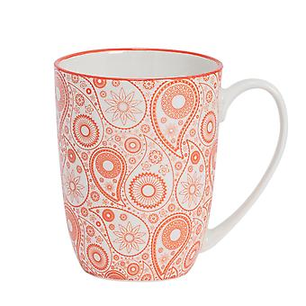 Nicola Spring Paisley Patterned Tea and Coffee Mug - Large Porcelain Latte Cup - Coral - 360ml