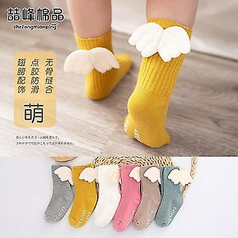 Baby Girls Knee High Socks Angel Wing Summer Autumn Cotton Solid Candy Color Kids Toddler Short For Children