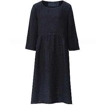 Grizas Flared Textured Linen Dress