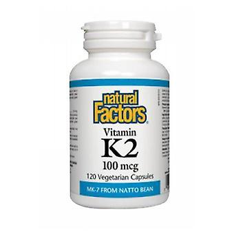العوامل الطبيعية فيتامين K2، 100 ميكروغرام، 60 قبعات الخضار