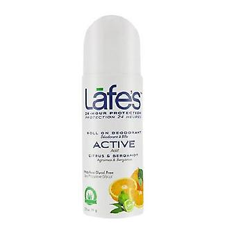 Lafes Natural Body Care Roll-On Deodorant Active, 2.5 Oz