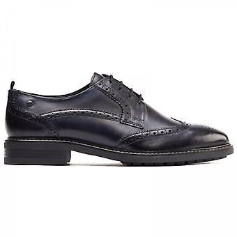 Base London Lennox Mens Leather Wingtip Derby Shoes Black