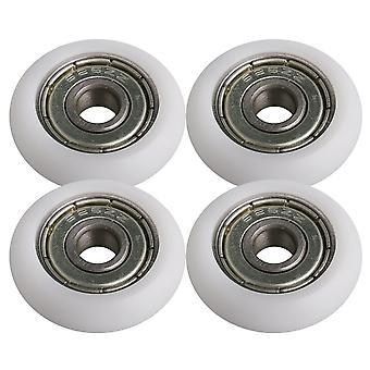 4PCS Weiß Kunststoff Schild Pulley Rollen Lagerrolle 1.02x0.23x0.31inch