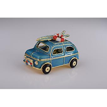 Blue Surfing Car With Surfboard - Trinket Box