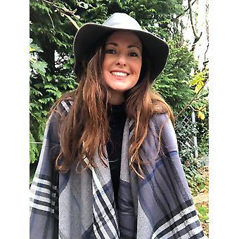 Belle Divino Quality Checked Stylish Poncho Warm Grey Tartan