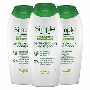Simple Kind to Hair Gentle Care Shampoo, 3 Packs of 400ml