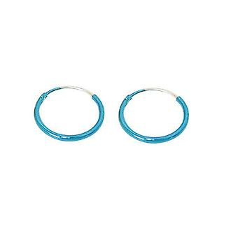 "Pair of cyan hoop earrings for cartilage, nose and lips, 12mm 1/2"" or 10mm 3/8"""