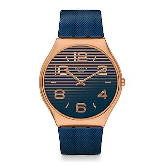 Swatch Ss07g101 Night Trick Rose Gold & Blue Rubber Skin Irony Watch
