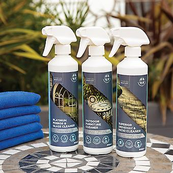 Charles Bentley High Quality Outdoor Glass Furniture Mirror Garden Cleaning Trio with Microfiber Cloths 500ml