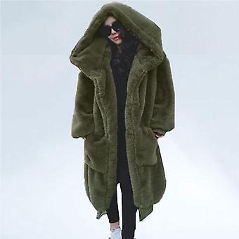 Ylis koko talvi tekoturkis naisten Parka pitkä lämmin takki huppari löysä