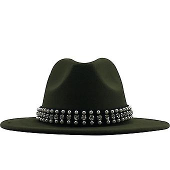 Hot Men Women Wide Brim Wool Felt Fedora Panama Hat With Belt Buckle Jazz