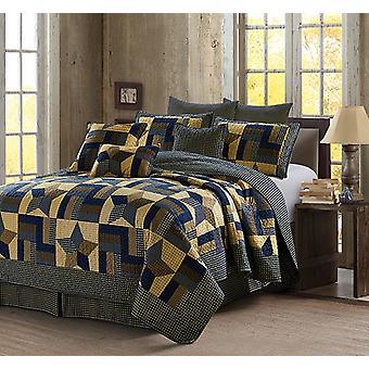 3Pcs Bedspread Geometric Woodland Star Blue Modern Patchwork King/Queen Quilt