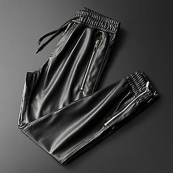 Männer Leder Superior Qualität elastische Taille Jogger Hose