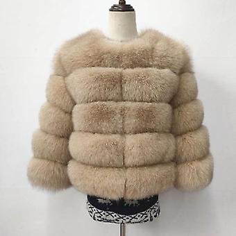 معطف قصير ريال مدريد، الفراء فوكس الطبيعية، أكمام الربع الشتاء، دافئ