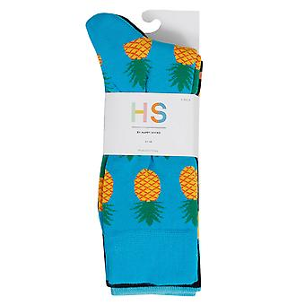 Happy Socks Mens 2021 Waterfall Pineapple Novelty Cotton Comfort 3-Pack Socks
