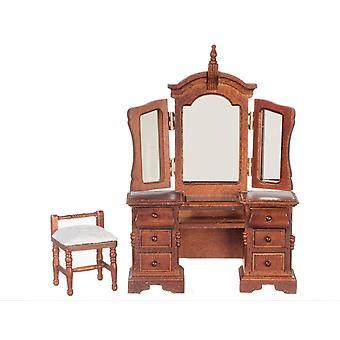 Dolls House Venetian Dressing Table & Stool Miniature Walnut Bedroom Furniture