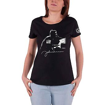 John Lennon T Shirt People for Peace Logo new Official Womens Skinny Fit Black