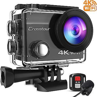 Crosstour 4k 20mp actiecamera webcam wifi eis waterdicht 40m met externe microfoon en afstandsbediening c