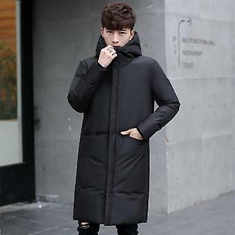Novos Homens de Inverno Grosso 's White Down Jacket Brand Clothing Hooded Black Gary Long