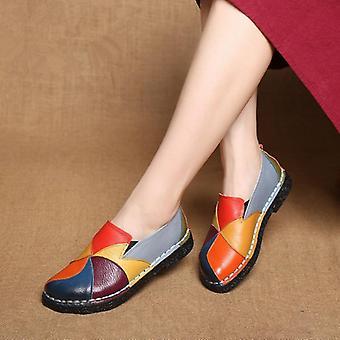 Mocassini in pelle, misto colorato, scarpe flats antiscivolo