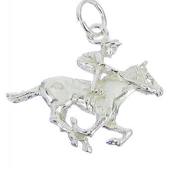 Hest og Jockey Sterling Sølv Charm 0,925 X 1 Heste Racing Charms
