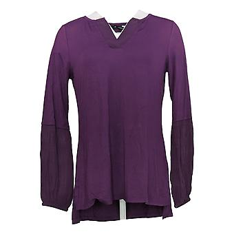 H Par Halston Women's Top Knit W/ Chiffon Blouson Sleeve Purple A343458
