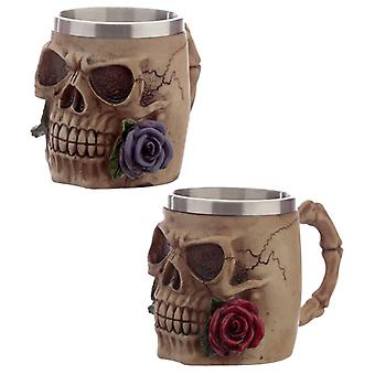 Decorative Skulls and Roses Tankard