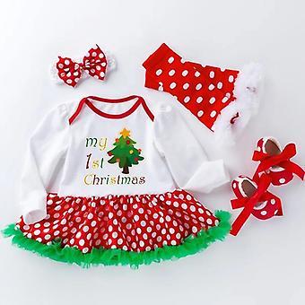 Baby Dress-Style Romper, Shoes, Socks And Headband Large Dot Set, My 1St Christmas