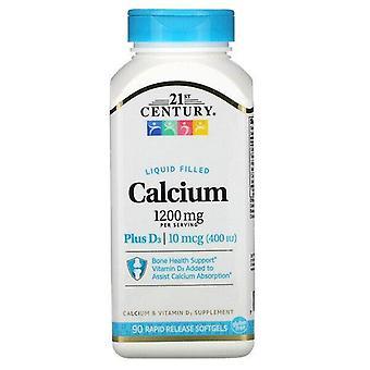 Siglo 21, Calcio Relleno Líquido Plus D3, 1.200 mg, 90 Softgels de Liberación Rápida