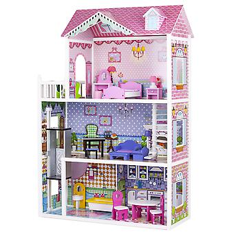 Puppenhaus 3 Stockwerke - mit Möbeln - 84x34x124 cm