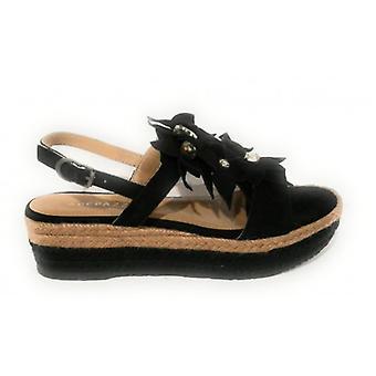 Shoes Women's Apepazza Sandalo Zeppa Mod. Bea Tc 45 Pl 35 Suede Black/ Rope Ds18ap17