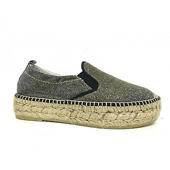 Sapatos femininos Trussardi Jeans Espadrillas Lâminas de Prata e Ouro Ds16tj11