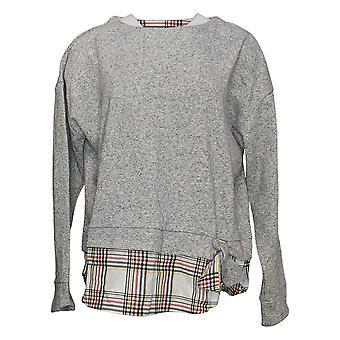 Izod Women's 2fer Sweater Gray W/ Multi Plaid & Tie Front Detail