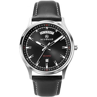 Accurist 7263 Classic Silver & Black Leather Men's Watch