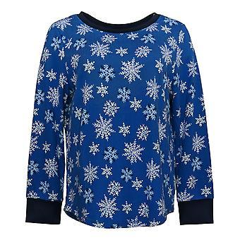 Carole Hochman Women's Petite Marshmallow Jersey Pajama Top Blue A381877