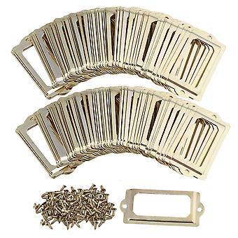 100 stykker IVintage Golden Frame Skuffe Box Kabinet Kabinet Card Label Indehavere