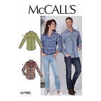 McCalls نمط الخياطة 7980 رجال يفتقد القمصان حجم S-L Uncut