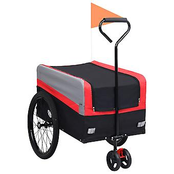vidaXL 2-en-1 XXL Remorque &Trolley Rouge Gris Noir