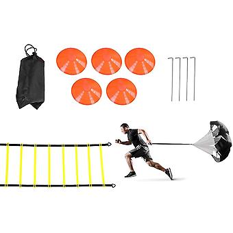 Gerui Speed Agility Training Set, Includes 1 Resistance Parachute 6m 12-Section Agility Speed