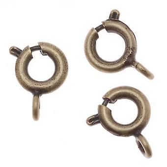 Spring Ring Clasps, Round with Closed Ring 6mm, 20 Pieces, Antiqued Brass