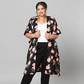 Pink Floral Print Bohemian Look Long Kimono in Black Size up to 22