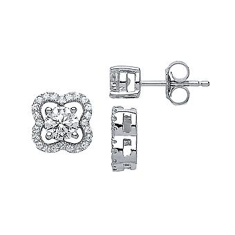 Jewelco London Rhodium Sterling Silver CZ Lucky Clover Stud Earrings Convertible, 5mm without frame, 10mm with