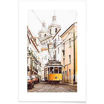 IMPRESSION JUNIQE - Tramway de Lisbonne - Affiche de Lisbonne en crème Blanche et Jaune
